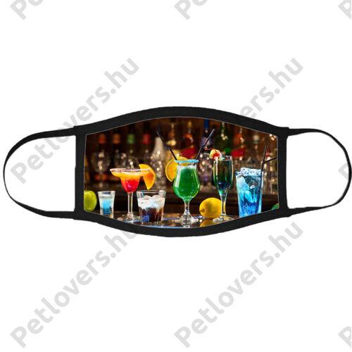 Cocktail mintás szájmaszk fekete peremmel