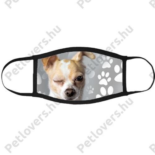 Chihuahua mintás szájmaszk fekete peremmel - kacsintós
