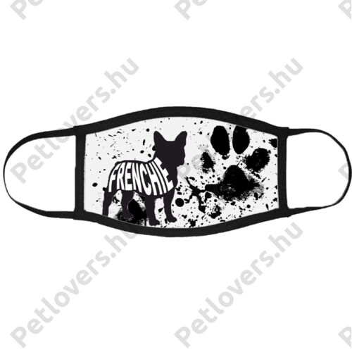 Francia Bulldog mintás szájmaszk fekete peremmel