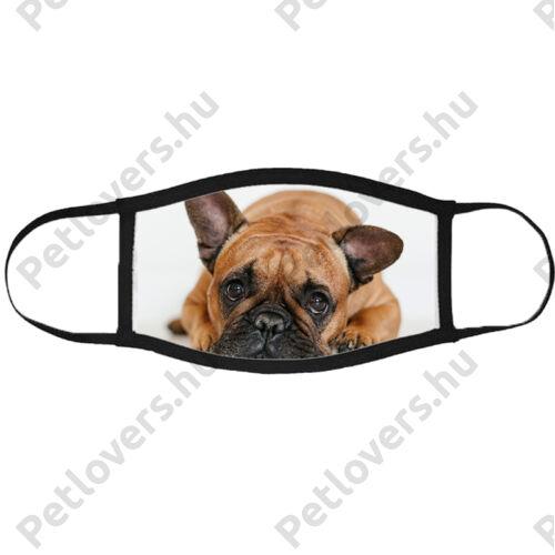 Francia Bulldog mintás szájmaszk fekete peremmel - bézs