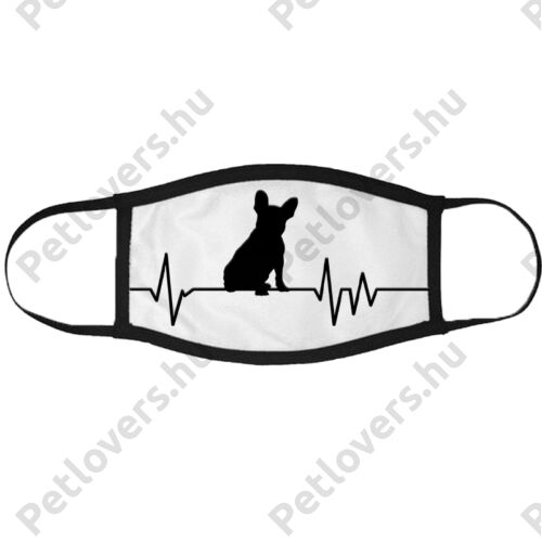 Francia Bulldog mintás szájmaszk fekete peremmel - ekg