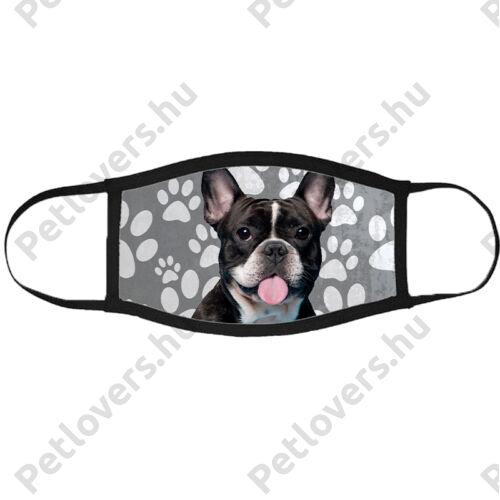 Francia Bulldog mintás szájmaszk fekete peremmel - mancsos 2
