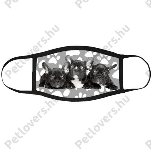 Francia Bulldog mintás szájmaszk fekete peremmel - mancsos