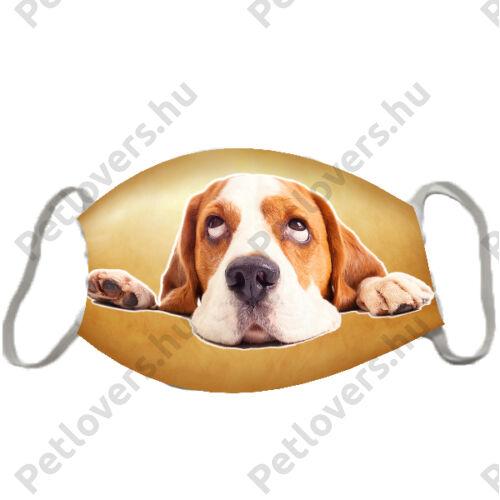 Beagle mintás szájmaszk - barna
