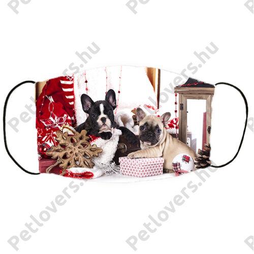 Francia Bulldog mintás karácsonyi szájmaszk