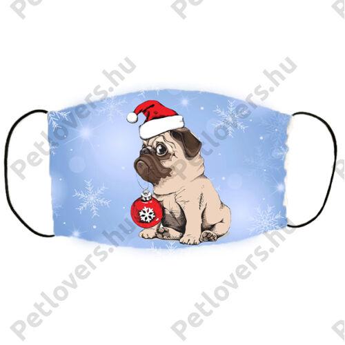 Mopsz mintás karácsonyi szájmaszk - cute