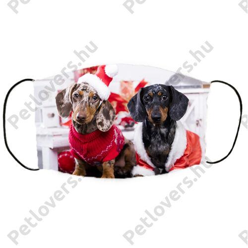 Tacskó mintás karácsonyi szájmaszk - duo