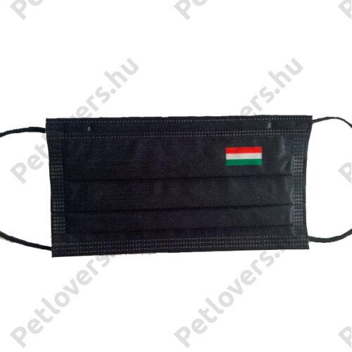 3 rétegű fekete szájmaszk - magyar zászlós