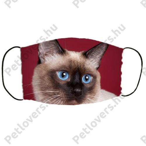 Sziámi macska mintás szájmaszk - bordó