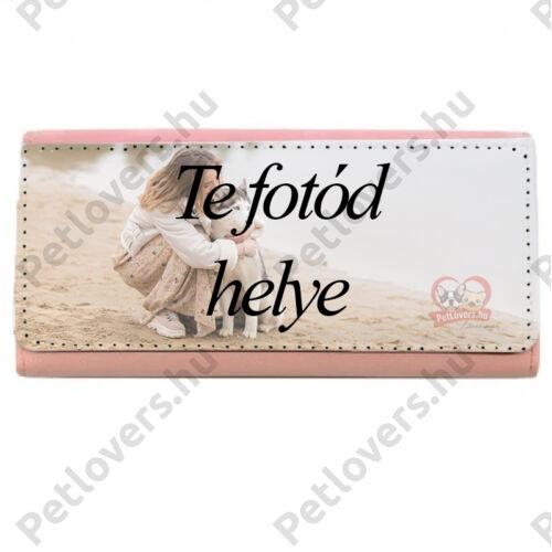 Egyedi fényképes rózsaszín műbőr pénztárca
