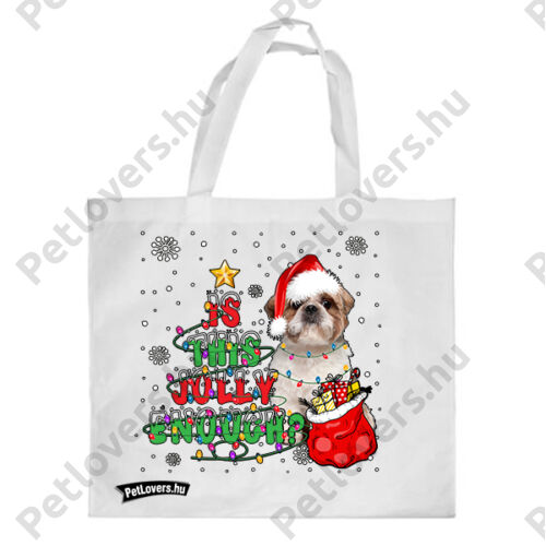 Shih Tzu mintás karácsonyi bevásárló táska