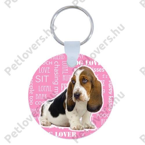 Basset hound kulcstartó - rózsaszín