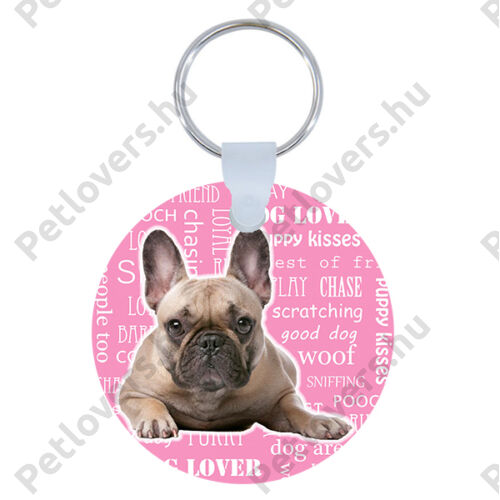Francia Bulldog kulcstartó - rózsaszín