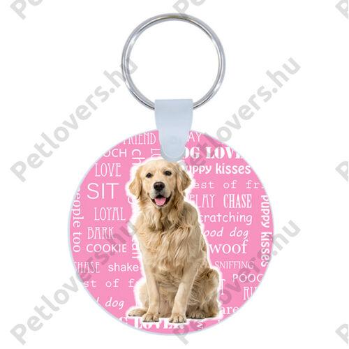 Golden Retriever kulcstartó - rózsaszín