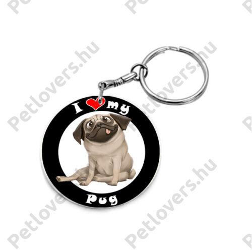 Mopsz kulcstartó - I love my Pug
