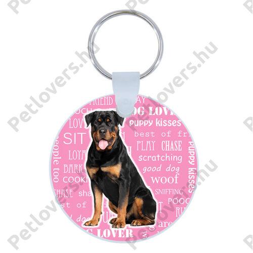 Rottweiler kulcstartó - rózsaszín