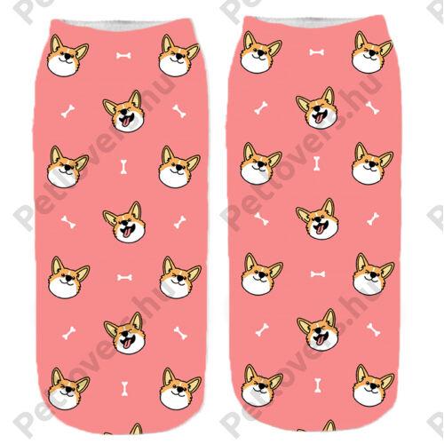 Corgi mintás zokni - rózsaszín