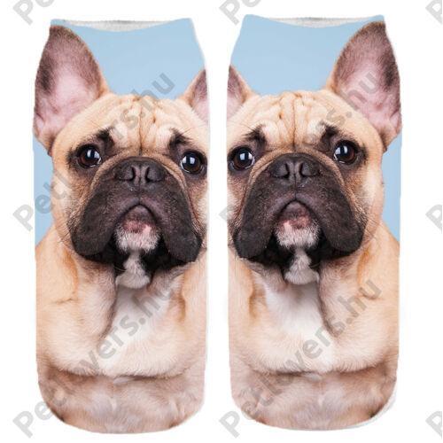 Francia Bulldogos zokni - bézs