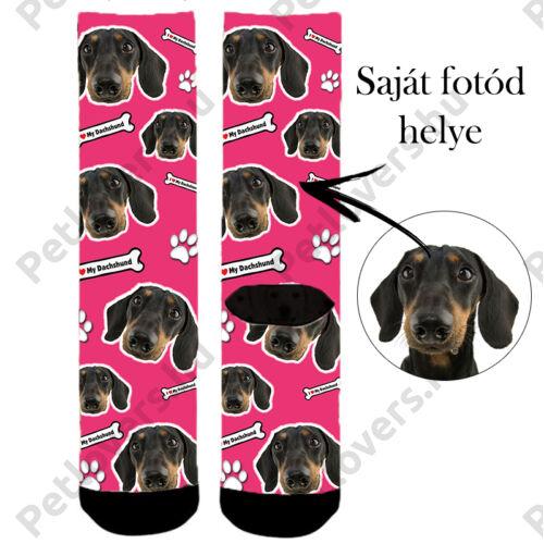 Egyedi képes kutyás zokni - pink
