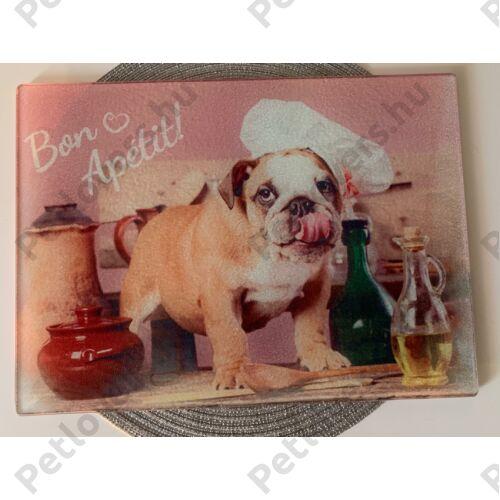 Üveg vágódeszka - Angol Bulldog