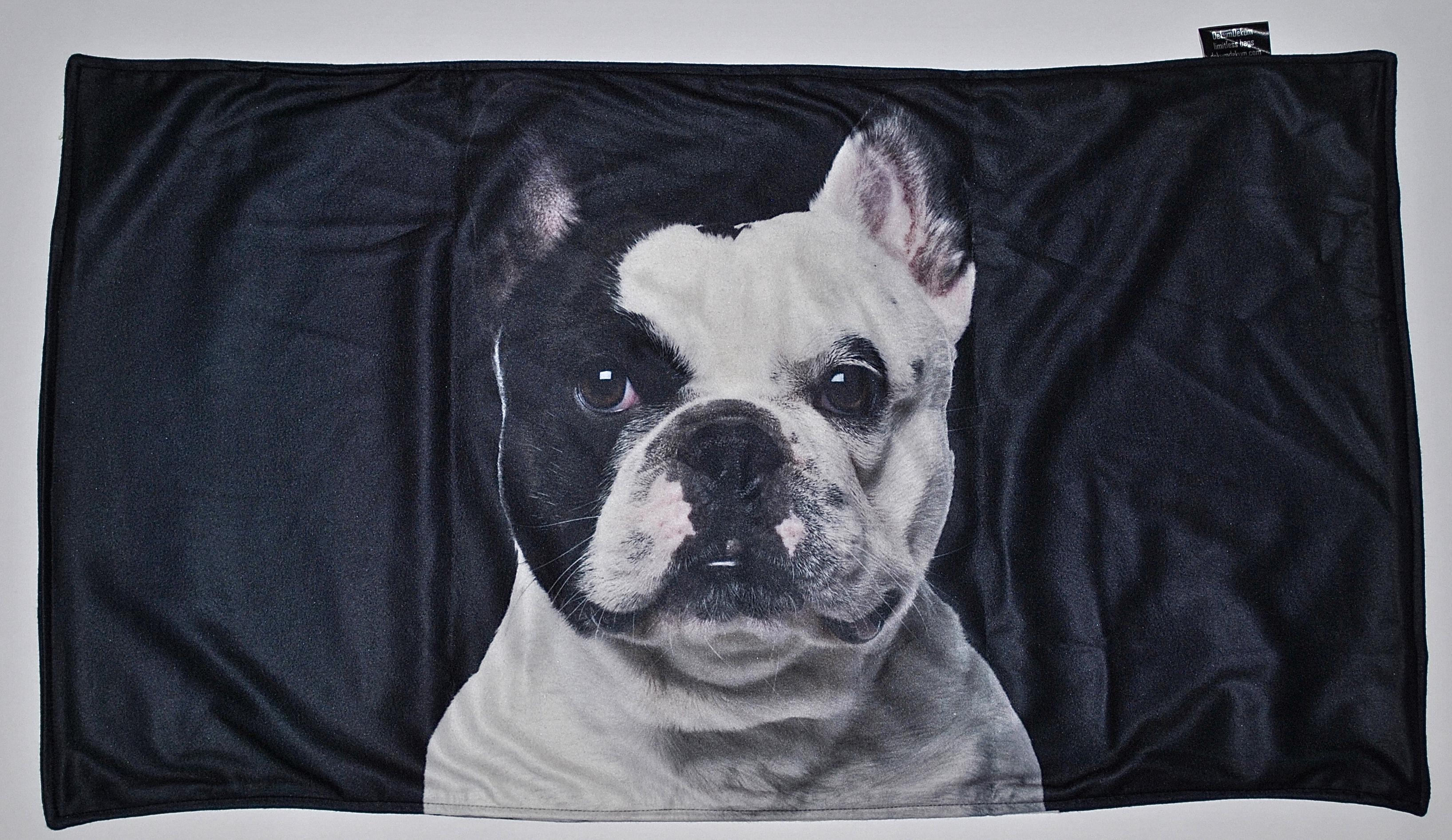 Francia Bulldog mintás takaró - fekete fehér - Takarók - Egyedi kutyás 19263ff656